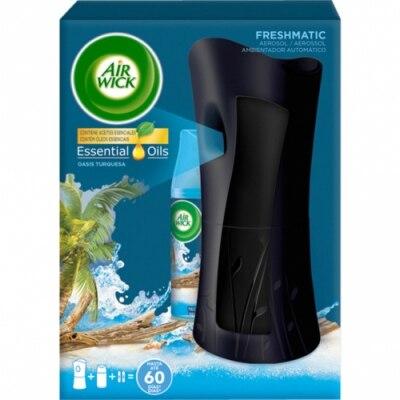 Airwick Ambientador Freshmatic Aparato Y Recambio Oasis Turquesa