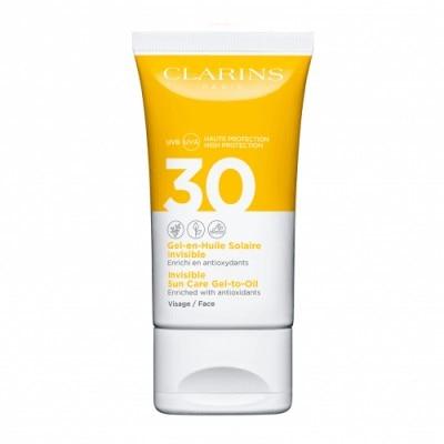 Clarins Gel-Aceite Solar Invisible para el rostro UVA/UVB 30