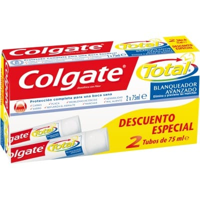 Colgate Pasta dental 75 ml. Total blanqueador avanzado pack 2 unidades