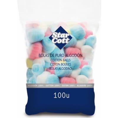 Star Cott Algódón bolas de colores 100 unidades