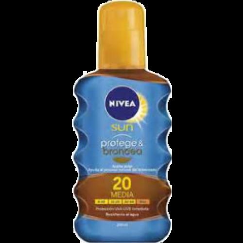 Nivea Bronceador Protege & Broncea aceite solar SPF-20 200 ml.