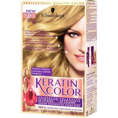 Keratin Tinte capilar nº 7.0 Rubio natural