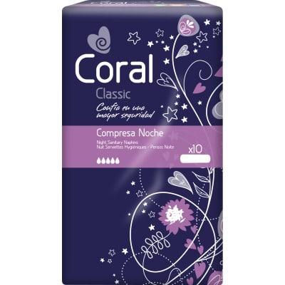 Coral Compresa noche 10 unidades