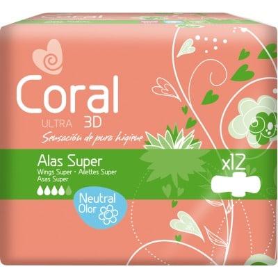 Coral Compresa ultra super alas 12 unidades