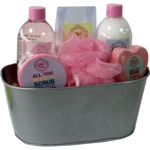 beauty & beauty set de baño pink candy cubo metalico