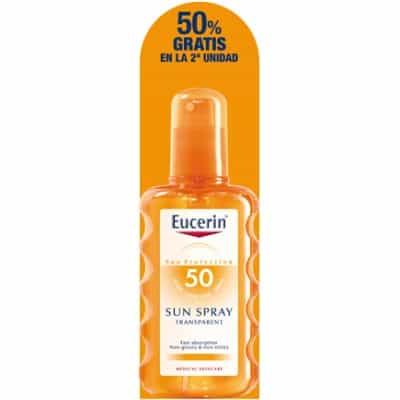 Eucerin Bronceador corporal spray transparente SPF-50+ 200 ml. pack 2 unidades