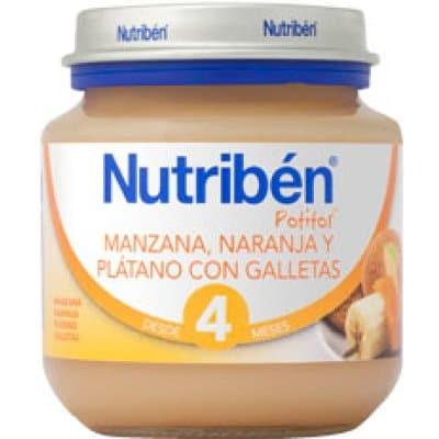 Nutriben Potito bebé manzana, naranja y plátano con galletas