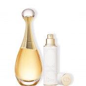 DIOR J'ADORE<br> El icónico perfume y su vaporizador de viaje en un cofre regalo.